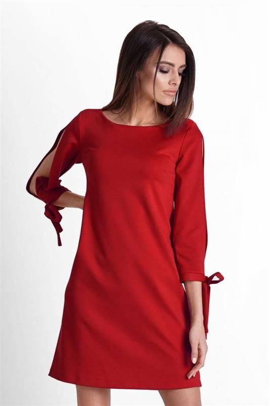 Trapezowa  diva czerwona mini sukienka rozkloszowana do pracy
