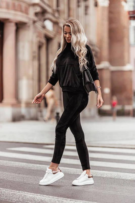 Welurowy komplet : spodnie + wygodna bluza- black