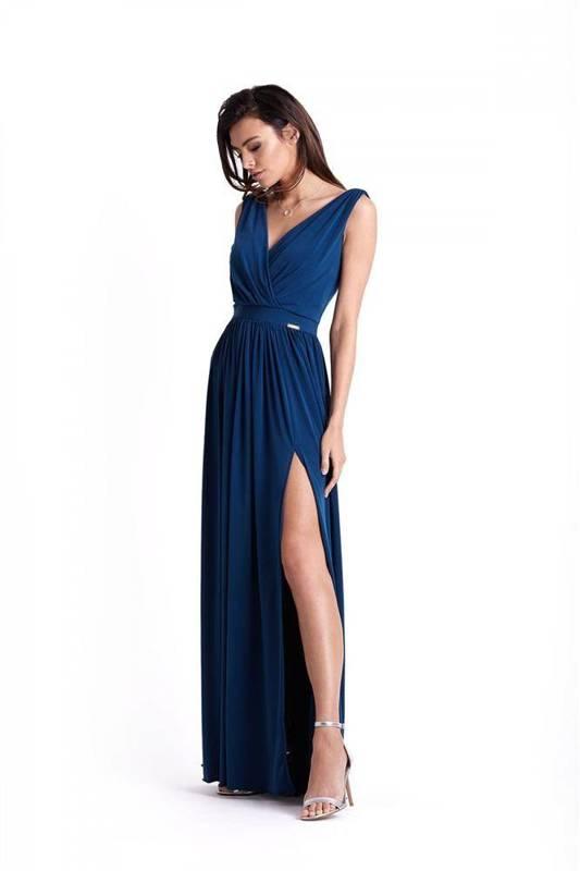Wieczorowa  philippa długa niebieska sukienka na ramiączkach